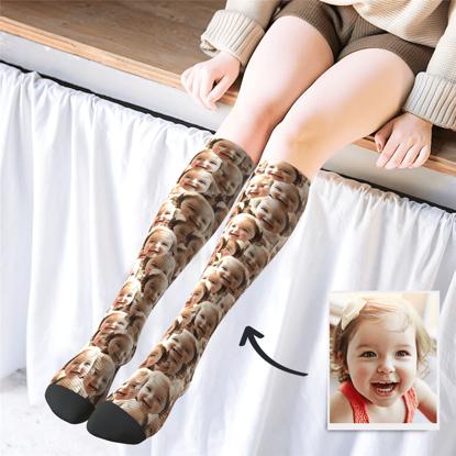 Immagine di Calze stampate personalizzate al ginocchio con Face Mash