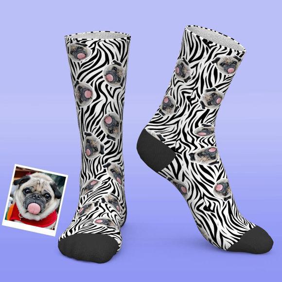 Picture of Custom Photo Zebra Print Funny Socks