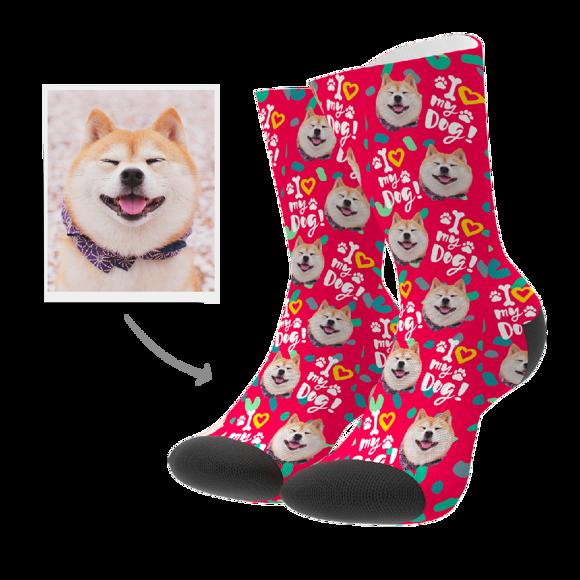 Picture of Custom Photo Socks - Love Dog