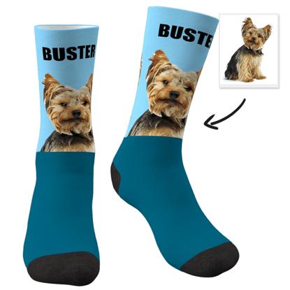 Immagine di Calzini personalizzati con foto con il tuo animale domestico e testo