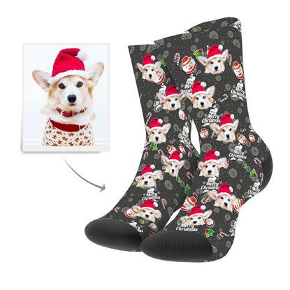 Immagine di Calzini personalizzati con foto con l'eroe del pupazzo di neve di Natale