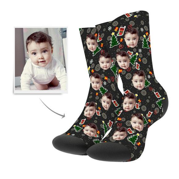 Picture of Christmas Custom Photo Socks With Tree Hero