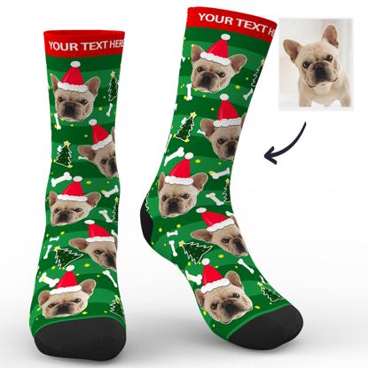 Immagine di Calzini natalizi personalizzati con foto per cani con il tuo testo