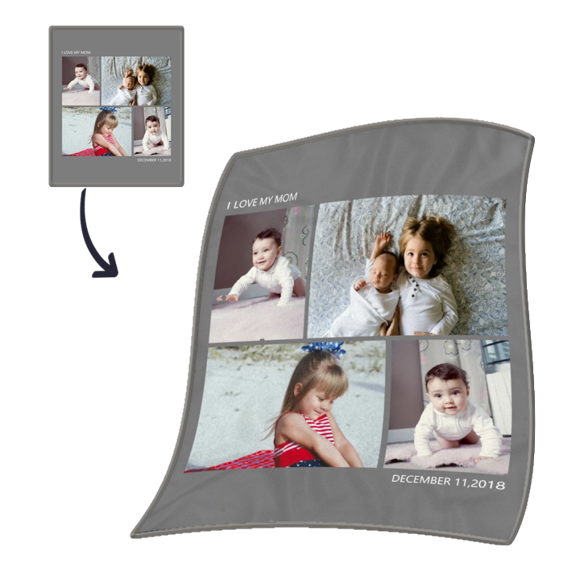 Immagine di Coperta per bambini con cuciture a quattro immagini personalizzate