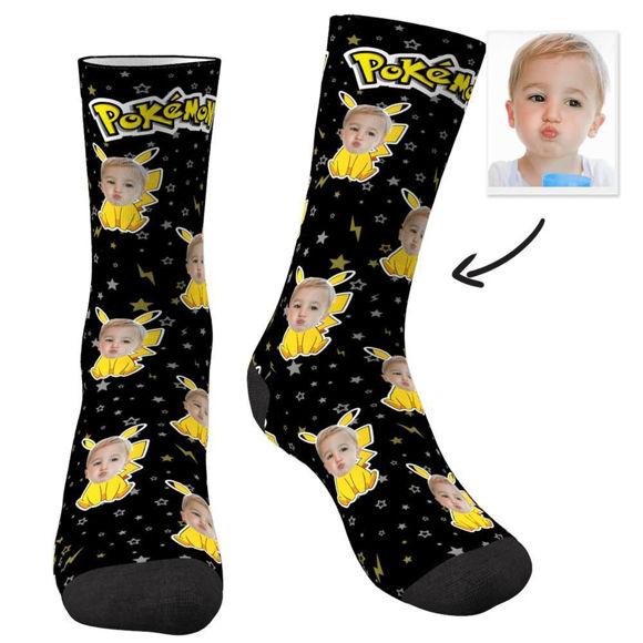 Image de Chaussettes Visage Pikachu Personnalisées