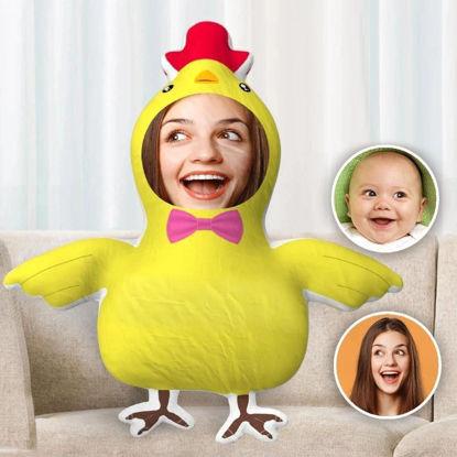 Immagine di Cuscino per il corpo personalizzato con foto su entrambi i lati per regalo a forma di pulcino divertente