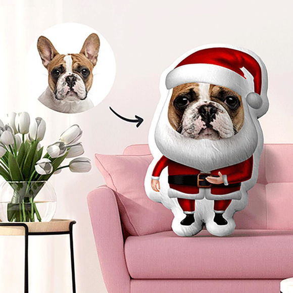 Immagine di Cuscino natalizio personalizzato con foto per animali domestici per regali