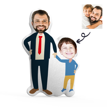 Immagine di Cuscino fotografico personalizzato padre e figlio per regali perfetti