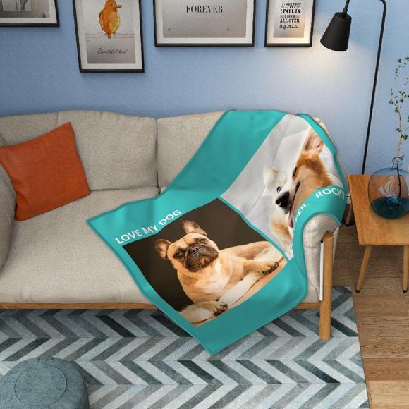 Immagine di Coperta personalizzata in pile per animali domestici con 2 foto