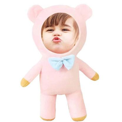 Immagine di Regalo rosa per cuscino personalizzato per il viso di un bambino carino