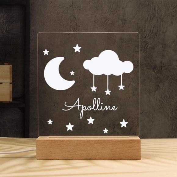 Immagine di Luce notturna Moon and Stars - Personalizzata con il nome di tuo figlio