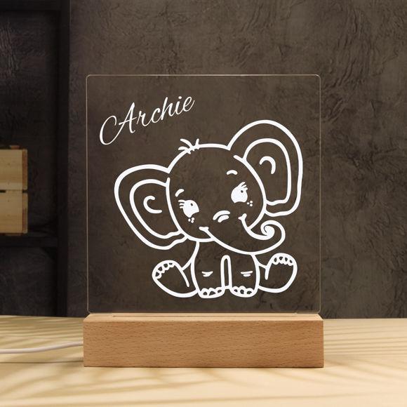 Immagine di Luce notturna a forma di elefante - Personalizzata con il nome di tuo figlio