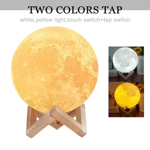 Immagine di Lampada lunare con foto personalizzata 3D magica con controllo tattile per famiglia amorevole (10cm-20cm)