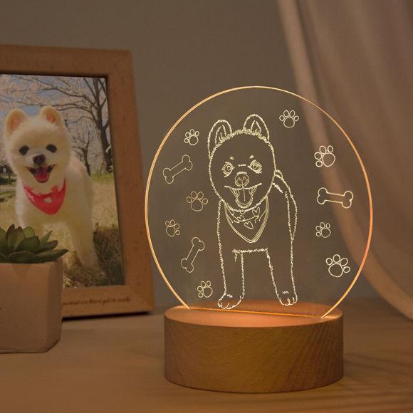 Immagine di Lampada da notte 3D con base rotonda in legno personalizzata per il tuo adorabile animale domestico