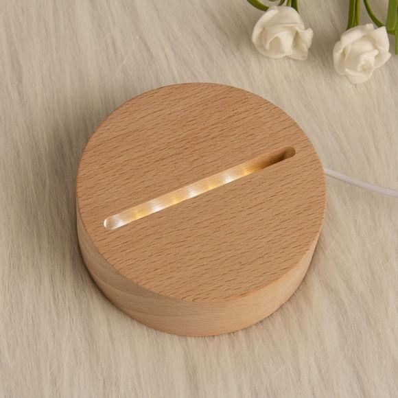 Immagine di Luce notturna rotonda personalizzata con intagli interni - Personalizza con la tua bella foto