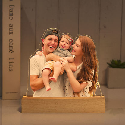 Picture of Colorful Personalized Wooden Base 3D Night Lamp With Your Lovely Photo